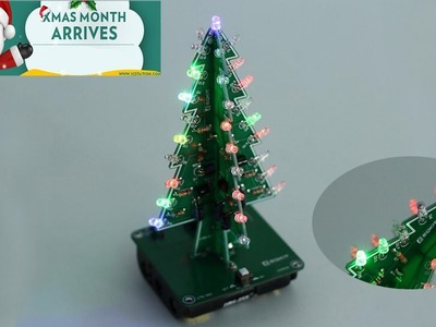 ICStation DIY 3D Christmas Tree Colorful Flashing LED Light Kit for Xmas Gift