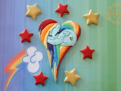 MY LITTLE PONY, RAINBOW DASH HEART PONY COOKIES - (How to) by Cookielicious NZ