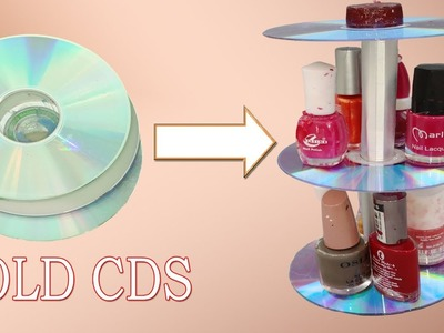 Nail polish organizer made with old cads-nail polish holder- diy nail polish-old cds crafts