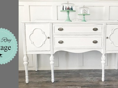 Painting a Buffet White With DIY Paint | Office Desk Part 2