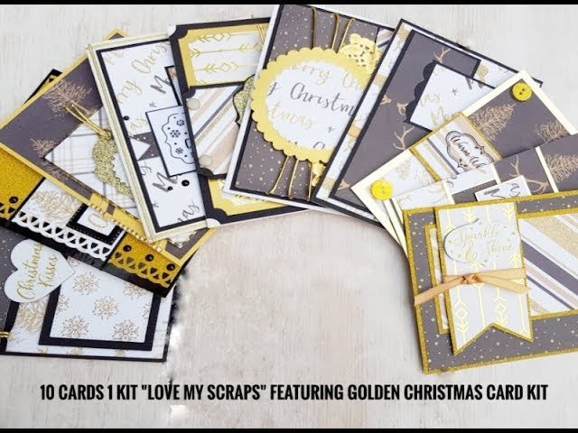 10 cards 1 kit ''Love my scraps'' featuring Golden Christmas card kit
