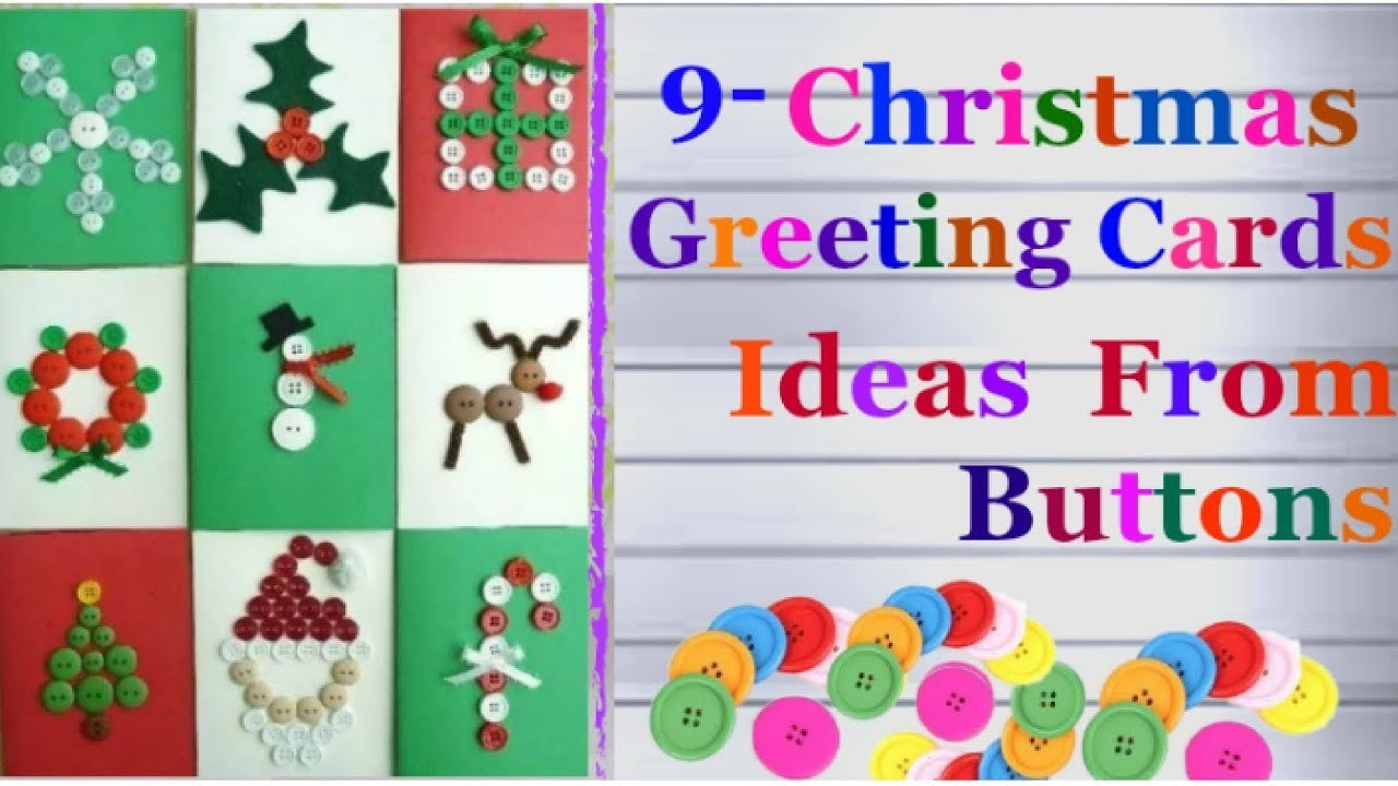 9 Easy Christmas greeting card ideas from buttons.homemade Christmas ...