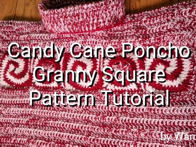 Candy Cane Car Seat Poncho Granny Square Crochet Pattern by WarmLinX