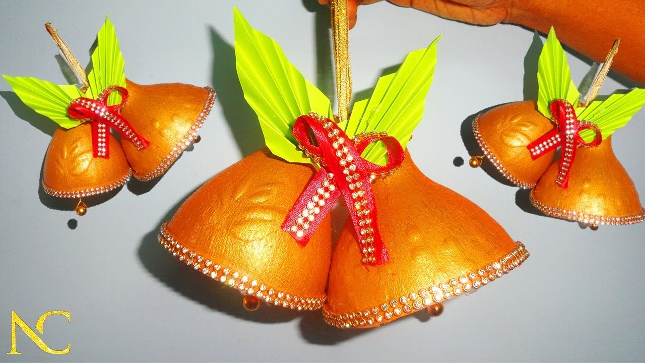 Christmas decoration ideas from water bottle, Christmas bell, Best out of waste, Nalicraft
