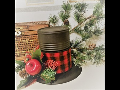 Day 24 ~ 50 Christmas Crafts in 50 Days ~ Tin Can Holiday Snowman Hat