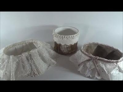 DIY baskets from plastic bowls and fabrics.Φτιάχνω καλάθια από πλαστικά μπολ και υφάσματα