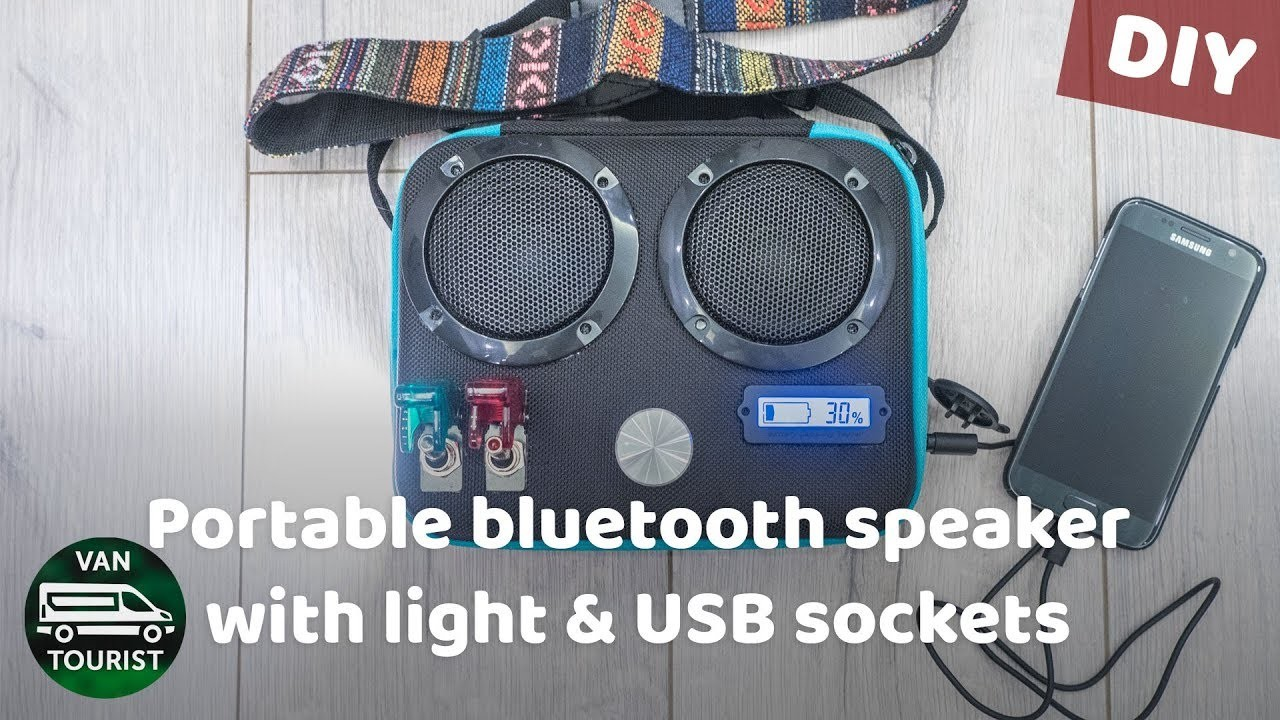 DIY portable bluetooth speaker - 40h battery, USB chargers & light