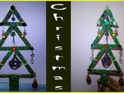 Easy and Beautiful Christmas Tree with ice cream stick and Ear Rings, X Max tree with Popsicle