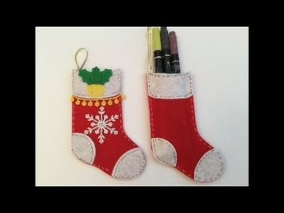 Easy No Sew Felt Christmas Stockings Decorations with a few Die Cutting Tips