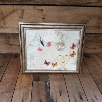 handcrafted bronze effect framed white pink and orange butterfly picture