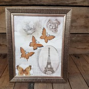 handcrafted bronze effect framed Paris and butterfly picture