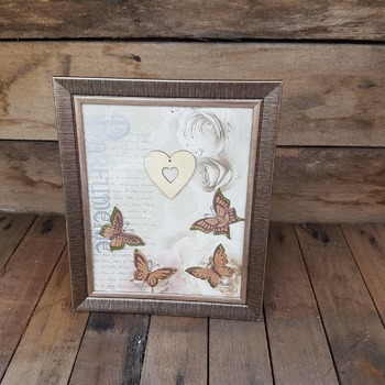 handcrafted bronze effect framed heart and butterfly picture