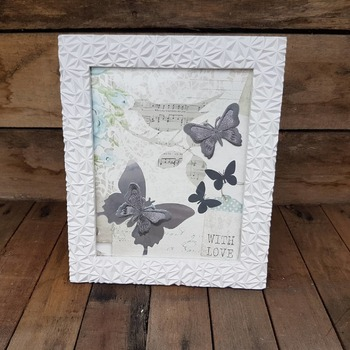handcrafted gift shabby chic framed silver and grey butterfly picture