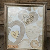 handcrafted hearts and love framed picture