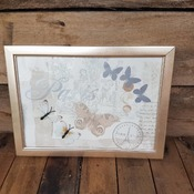 handcrafted pale gold framed Paris and silver and cream butterfly picture