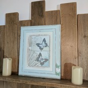 handcrafted shabby chic aqua silver and cream framed butterfly picture