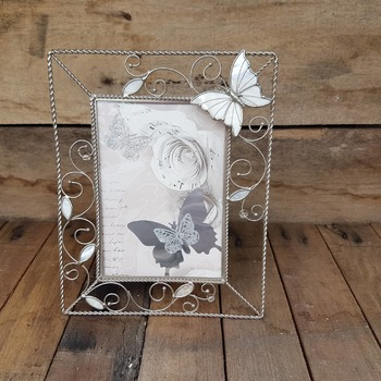 handcrafted silver butterfly and rose picture in metal mother of pearl butterfly frame