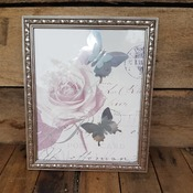 handcrafted silver/pink rose and silver butterfly framed picture