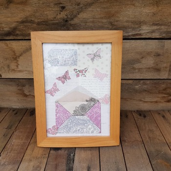 handcrafted wooden framed pastel envelope with hearts and butterflies