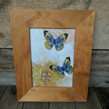 handcrafted wooden framed sparkly yellow and blue butterfly picture