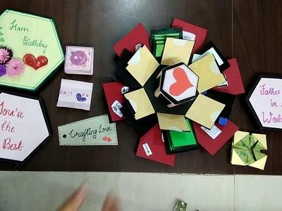 Hexagonal explosion box| DIY | Love card| Scrapbook| 4 layered box| Valentine Day Gift ideas