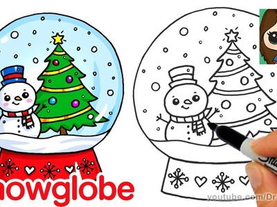 How to Draw a Christmas Snow Globe Cute and Easy