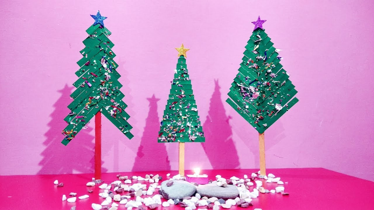 How to make different popsicle stick Christmas trees | DIY Christmas tree | Christmas tree crafts