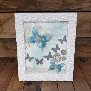light weight textured white framed aqua, silver butterfly picture