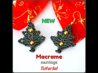 Macrame earrings tutorial. DIY macrame jewelry. How to make Christmas tree earrings.