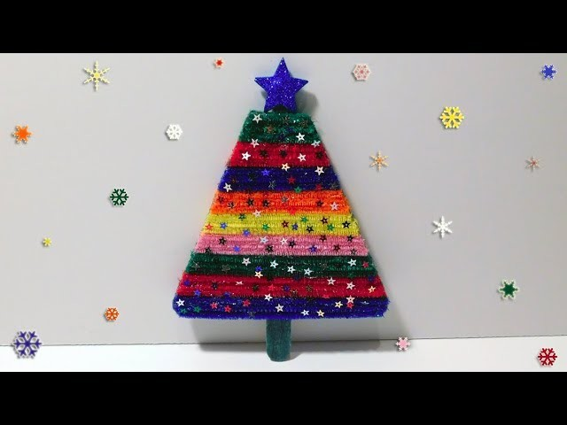 Making a Christmas Tree with Popsicle Stick and Chenille Stems