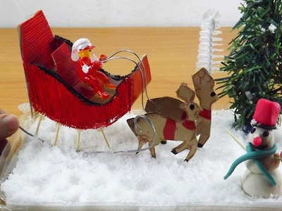 Miniature Snowman and Santa Claus Sleigh with Reindeer | Easy Christmas Crafts Ideas