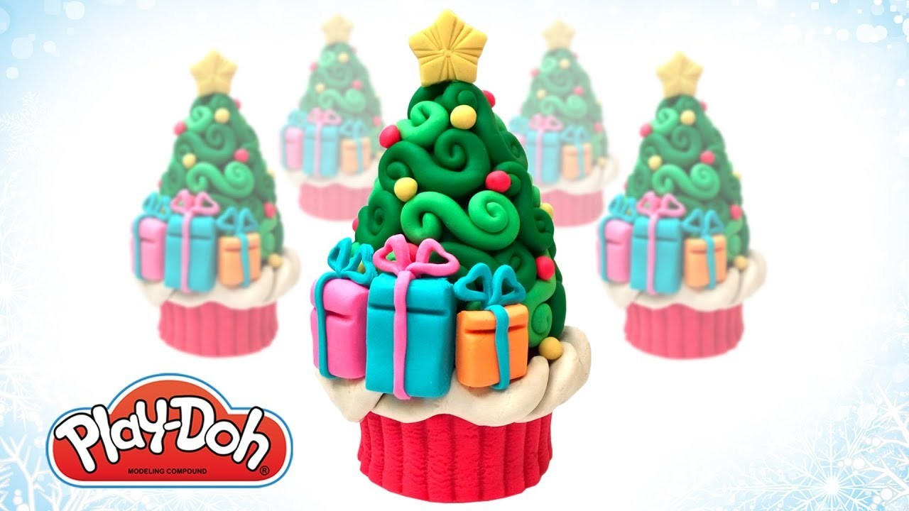 Play Doh Christmas Pine Tree Cupcake. Make Funny Food Out of Play Doh DIY. Art and Craft for Kids