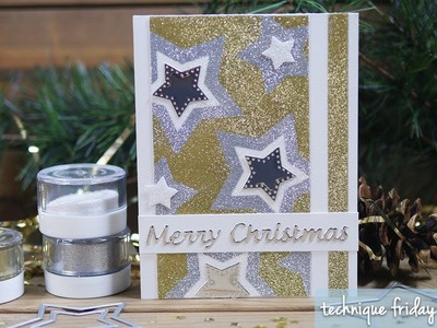 Sparkling Stars Christmas Card | Technique Friday with Els