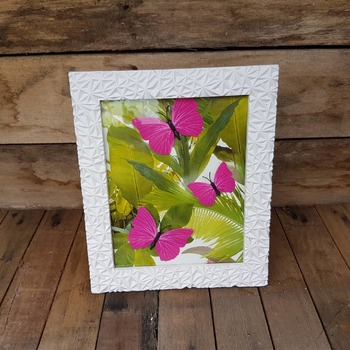 textured light weight framed cerise butterfly picture with jungle background