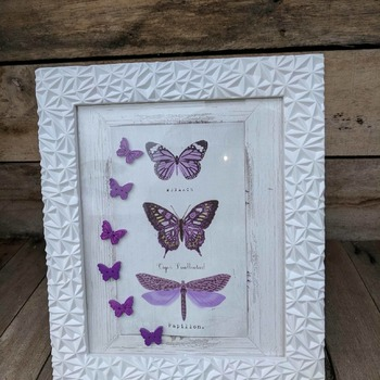 textured light weight framed lilac butterfly picture with grey background
