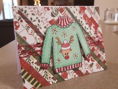 UGLY SWEATER CHRISTMAS CARD USING SCRAPS