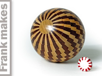 Wood Turned Peppermint Christmas Ornament