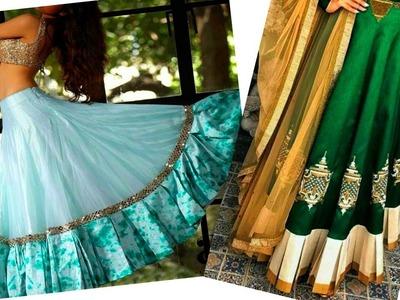 Creative border || attaching box pleated border on umbrella or anarkali lahnga || DIY