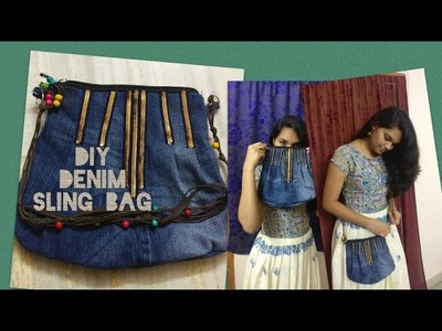 DIY: Denim sling bag | how to make your own jeans sling bag from old jeans| Purple fly