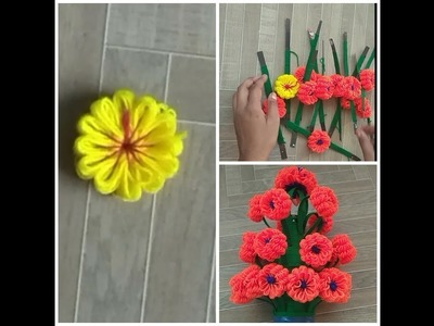 DIY New woolen flower for decorations.very easy and simple flower making at home