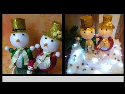 DIY Snowman Family| Christmas Ornament. Winter Decor