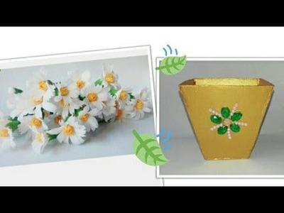 DiY Vase | Recycled Cardboard| DiY Chamomile Flowers| Crepe Paper Craft