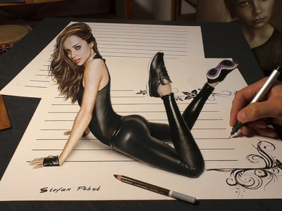 Drawing of Woman. realistic optical illusion. 3D Trick Art