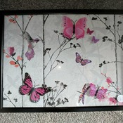 handcrafted black framed hummingbird and cerise butterfly picture