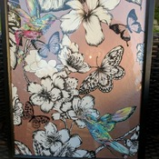 handcrafted black framed hummingbird, black and white butterfly picture