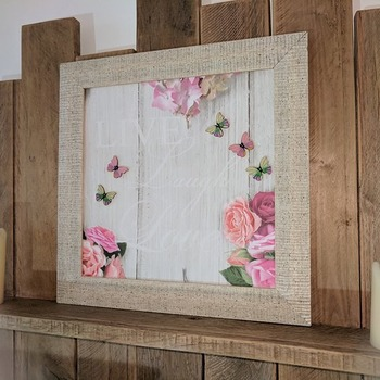 handcrafted framed live love laugh with roses and pastel butterflies