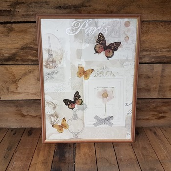 handcrafted framed Paris and black pink and gold butterfly picture