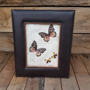 handcrafted leather framed black pink and gold butterfly picture