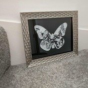 handcrafted silver effect framed black, silver, white butterfly picture