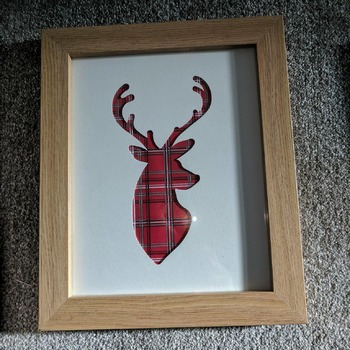 handcrafted tartan stag picture in oak effect frame